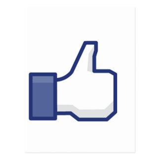 Como la mano - pulgares del FB para arriba Tarjeta Postal
