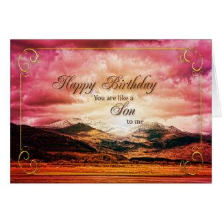 Como un hijo a mí cumpleaños, puesta del sol y tarjeta de felicitación