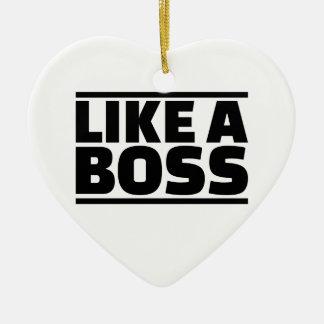 Como un jefe adorno navideño de cerámica en forma de corazón