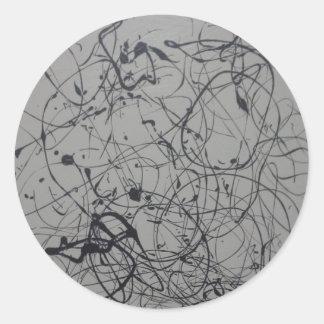 Comodidad en productos del papel del caos pegatina redonda