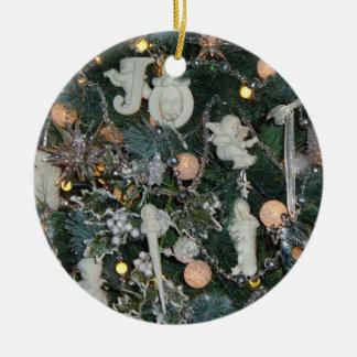 Comodidad y alegría adorno navideño redondo de cerámica