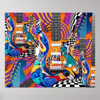 Comodines de los años 60 del arte pop de la música póster