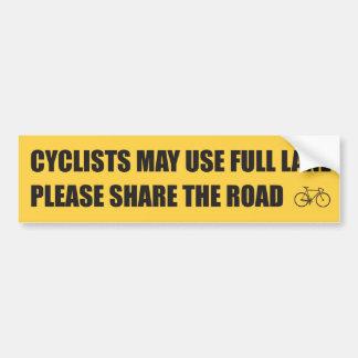Comparta el camino - los ciclistas pueden utilizar pegatina para coche