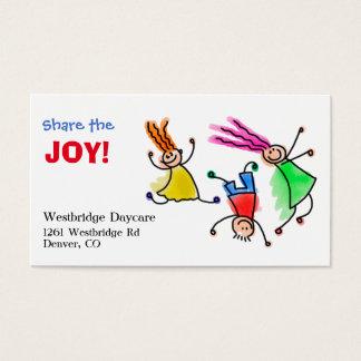 Comparta el cuidado de niños de la alegría tarjeta de negocios