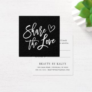 Comparta la remisión blanco y negro del amor el | tarjeta de visita cuadrada