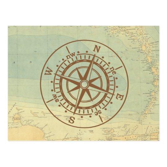 Compás en viaje náutico del mapa viejo postal
