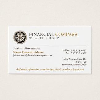 Compás financiero de las finanzas del analista del tarjeta de negocios