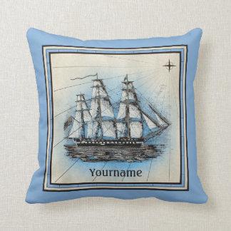 Compás náutico azul del viejo vintage de la nave cojín decorativo