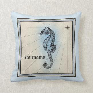 Compás náutico azul del vintage del Seahorse del Cojín Decorativo