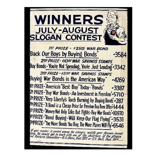 Competencia del lema de los ganadores julio-agosto postales