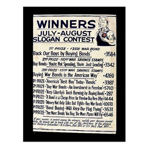 Competencia del lema de los ganadores julio-agosto tarjeta postal