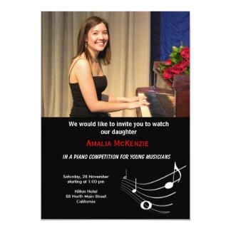 Competencia del piano invitación 12,7 x 17,8 cm