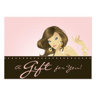 Componga a la mujer rosada bonita de la tarjeta de tarjetas de visita grandes