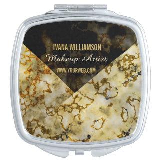 Componga el oro agrietado Marbleized lujoso del Espejos De Viaje