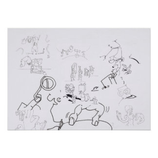 Composición con los dibujos surrealistas que póster
