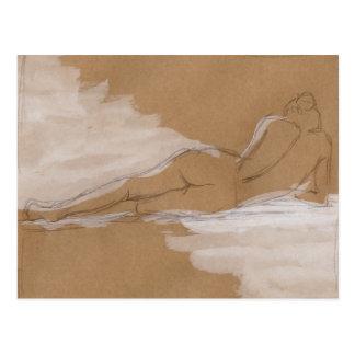 Composición desnuda femenina que miente en cama postal
