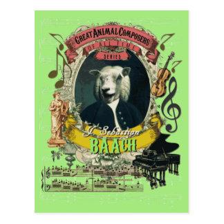 Compositor animal Bach de las ovejas divertidas de Postal