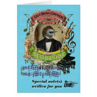 Compositor animal divertido de Schubird de la Tarjeta De Felicitación