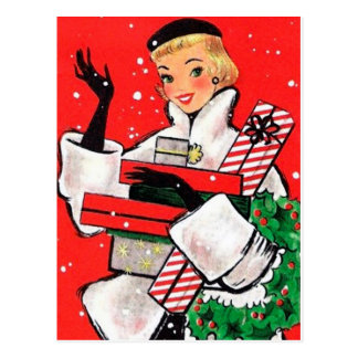 Comprador del navidad de los años 50 postal