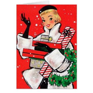 Comprador del navidad de los años 50 tarjeta de felicitación