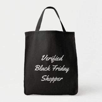 Comprador negro verificado tipografía divertida de bolso de tela