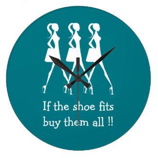 Compradores divertidos del zapato de la diva reloj redondo grande