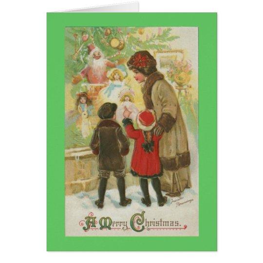 Compras de la ventana del navidad tarjeta de felicitación