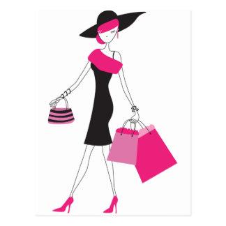 Compras femeninas retras de París Postal