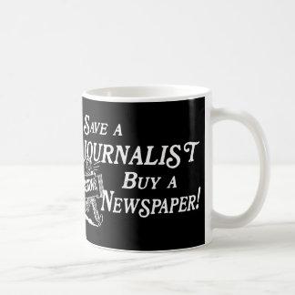 Compre el periódico ahorran la taza del periodista