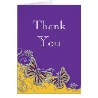 Compromiso amarillo púrpura del boda de la tarjeta pequeña