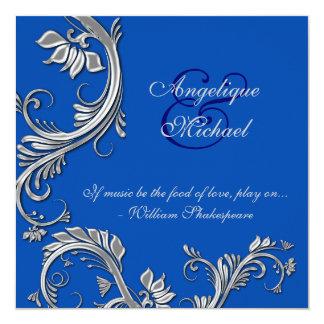 Compromiso azul del aniversario de bodas de plata invitación 13,3 cm x 13,3cm
