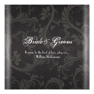 Compromiso blanco negro elegante del boda invitación 13,3 cm x 13,3cm