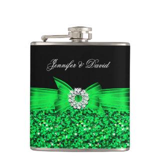 Compromiso del boda de diamante negro de la verde petaca
