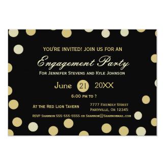 Compromiso del confeti del brillo del oro invitación 12,7 x 17,8 cm
