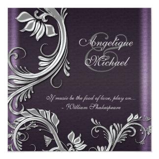 Compromiso floral de plata púrpura del boda invitación 13,3 cm x 13,3cm