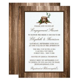 Compromiso rústico de madera del árbol del invitación 12,7 x 17,8 cm