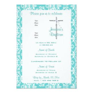 Comunión blanca del bautizo del bautismo de la invitación 12,7 x 17,8 cm