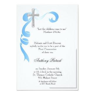 Comunión cruzada de plata de Blue Ribbon Invitación 12,7 X 17,8 Cm