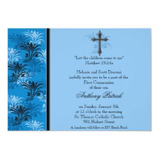 Comunión cruzada floral azul del muchacho invitacion personalizada