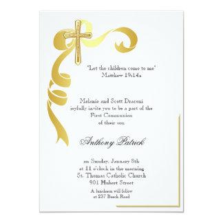 Comunión de la cruz de la cinta del oro invitación 12,7 x 17,8 cm