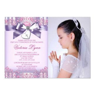 Comunión de la foto rosada de la lavanda primera invitación 12,7 x 17,8 cm