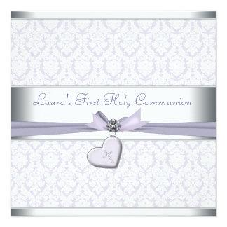Comunión de la púrpura de los chicas de la cruz invitaciones personalizada