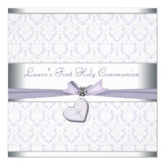 Comunión de la púrpura de los chicas de la cruz invitación 13,3 cm x 13,3cm