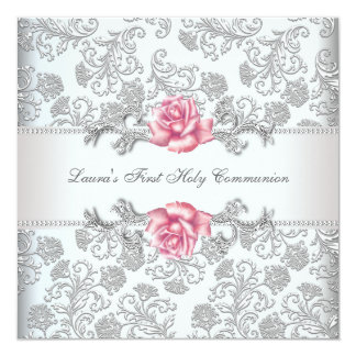 Comunión de los chicas color de rosa rosados del invitación 13,3 cm x 13,3cm