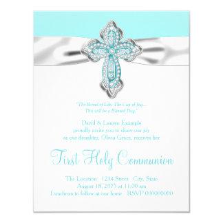 Comunión de los chicas de la cruz del diamante del invitación 10,8 x 13,9 cm