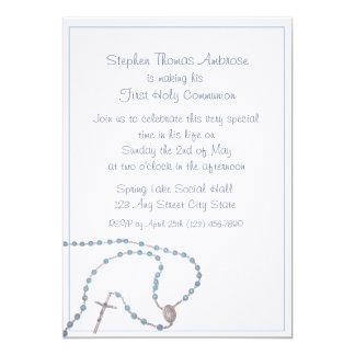 Comunión del azul del rosario invitacion personal