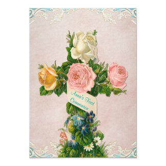 Comunión del azul del trullo primera y del rosa invitación 12,7 x 17,8 cm