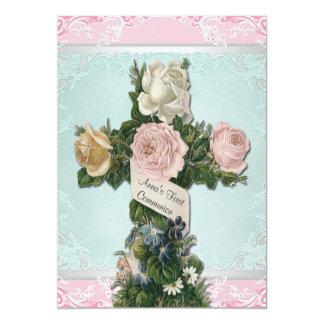 Comunión del rosa del vintage primera invitación 12,7 x 17,8 cm