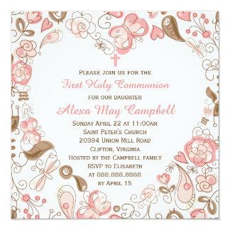 Comunión floral del corazón rosado del chica invitación 13,3 cm x 13,3cm