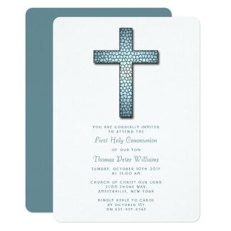 Comunión o confirmación del crucifijo del vitral invitación 12,7 x 17,8 cm